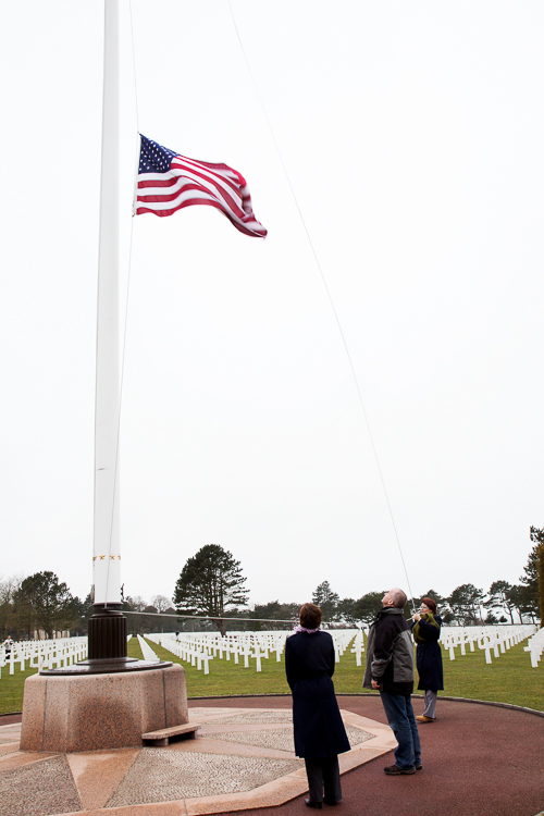 Flag Ceremony at American Cemetery Normandy, France
