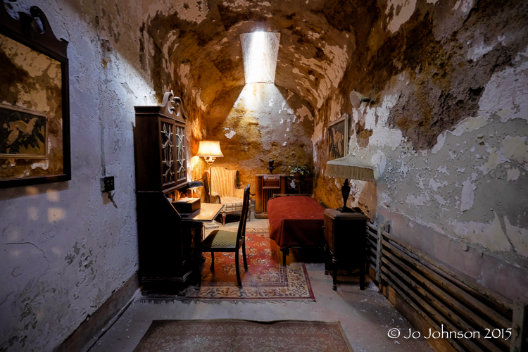 "Decorated cell of the famous Al ""Scarface"" Capone. One of the more famous inmates of ESP."
