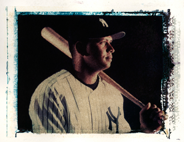 Polaroid Transfer portrait of New York Yankees' Alex Rodriguez.  (Photo Credit: Saed Hindash)