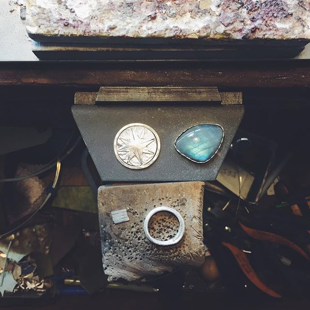 A little of this and a little of that. . . . . #jeweler #onthebench #labradorite #jewelry #silversmith #goldsmith #bench #workinprogress #ericafreestone
