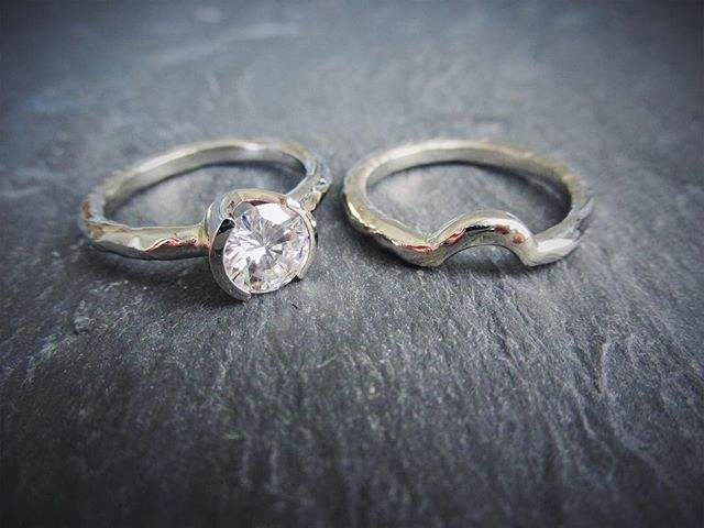 Rugged Engagement Ring with a half bezel, @Charles_colvard Forever One Moissanite, and a curved band. Yes please! . . . . . #ruggedcollection #halfbezel #foreverone #diamondalternative #uniqueengagementring #curvedweddingband #ecofriendly #ericafreestone