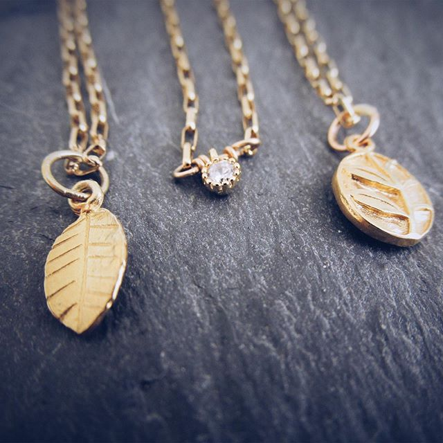 I still have a few of these bbs left in my Etsy shop. Head on over to ericafreestone.etsy.com they'd make a great Mother's Day gift! . . . . #leaf #sparkle #twig #necklaces #gold #mothersdaygift #mom