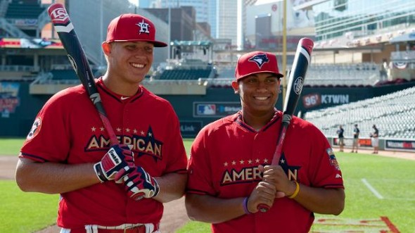 Josh Naylor (right) finished second to Luken Baker of Texas in the junior select Home Run Derby last week at Minnesota's Target Field. The 17-year-old Naylor will compete at two more MLB ballparks before the summer is over