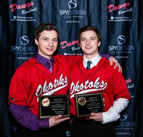OF Garrett Kirkwood (Sudbury, Ont.), left, and his twin brother Drake helped the Okotoks Dawgs win the Bishop Gorman Desert Classic in Las Vegas. Garrett hit .444 for the tourney as the Dawgs beat the Vauxhall Jets18-8 in the final.