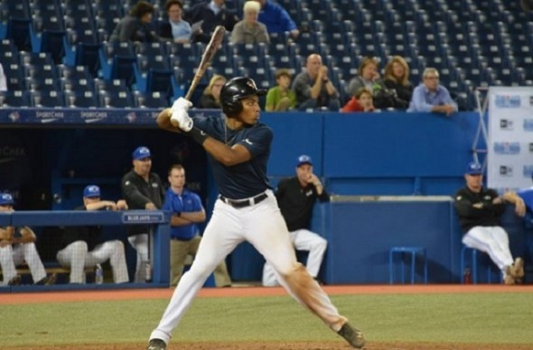 OF Isaac Deveaux (Montreal, Que.) who homered last September in Tournament 12 II for the Futures Navy against Atlantic Grey  is expected back this fall with Quebec Blue. Photo: Nick Ashbourne