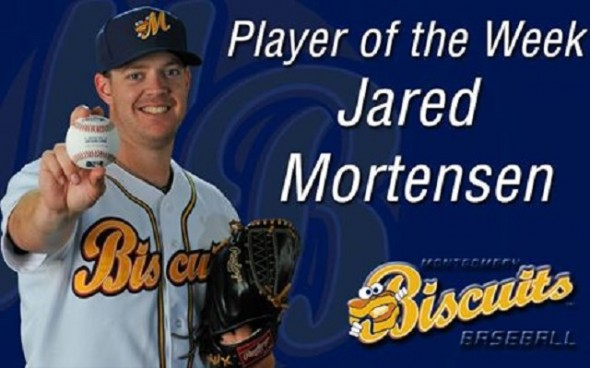 RHP Jared Mortensen (Abbotsford, BC) pitched six scoreless innings as the Double A Montgomery Biscuits scored a 7-2 win over the the Mississippi Braves. He now has a string of 13 consecutive scoreless and earned Southern League Pitcher of the Week honors.