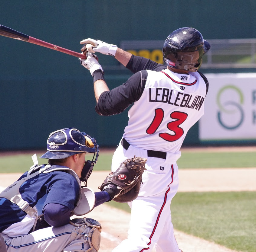 Jason Leblebijian hithis sixth home run and knocked in three runs for class-A Lansing.