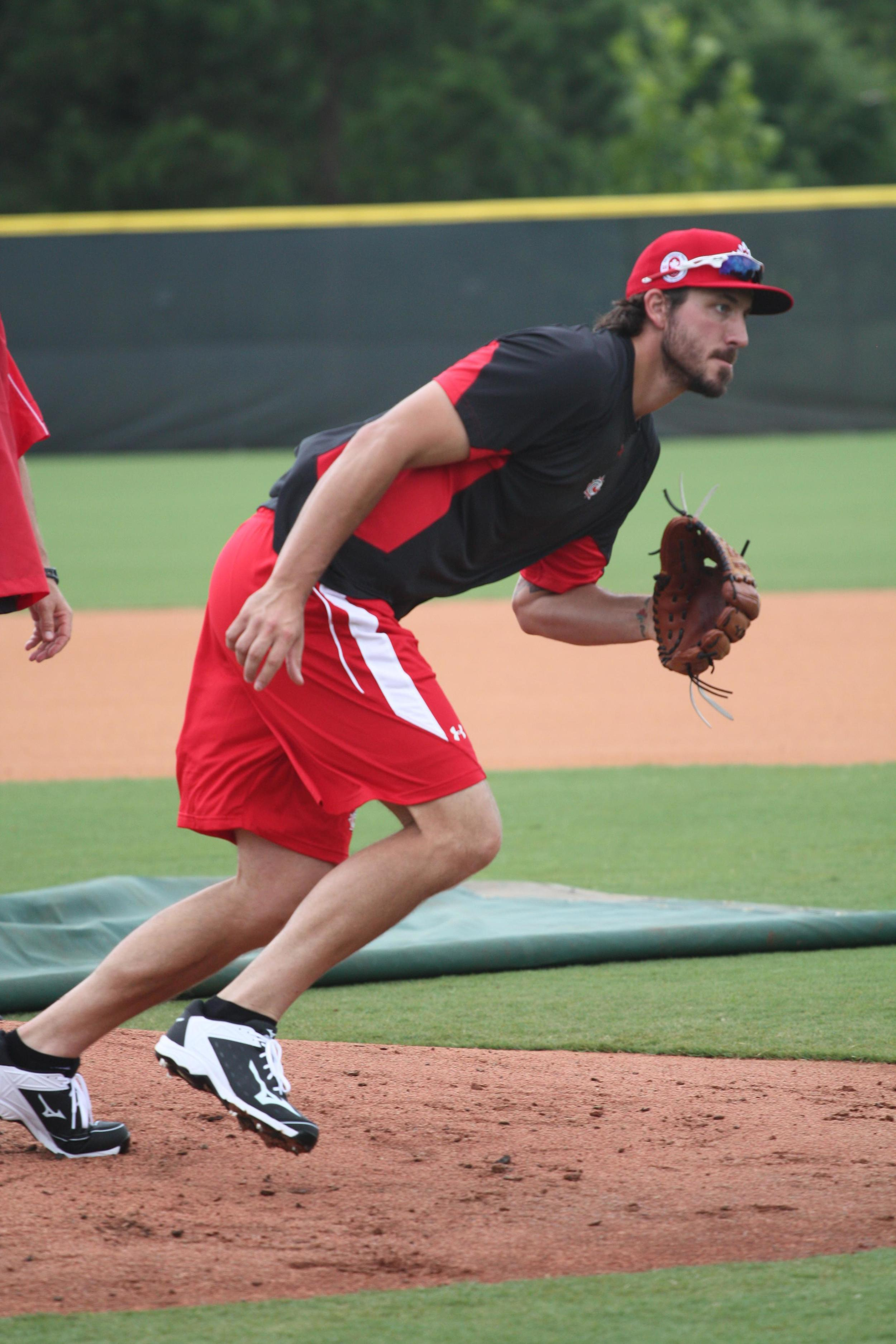 RP Phillippe Aumont (Gatineau, Que.) during pitcher's fielding practice before playing Team USA. Photo: Baseball Canada.