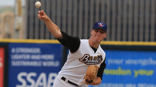 RHP Brock Dykxhoorn (Goderich, Ont.),pitched seven scoreless innings in a 2-0 class-A Quad Citieswin over Peoria.