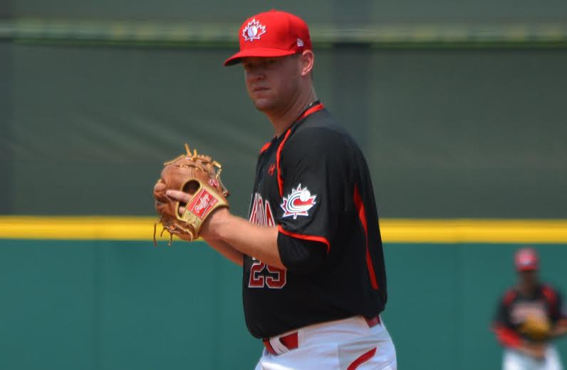 RHP Jared Mortensen (Abbottsford, BC), shown here in Cary, NC,pitched seven innings in a 10-3 win over Columbia to move to 2-0 in the Pan America Games. Photo: Alexis Brudnicki.