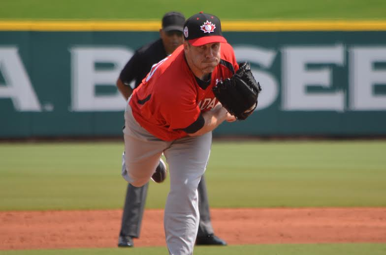 RHP Shawn Hill (Georgetown, Ont.) an Etobicoke Rangers gradpitched the best game of the Pan Am tourney to date with six scoreless in a 3-1 win over Cuba. Photo: Alexis Brudnicki.