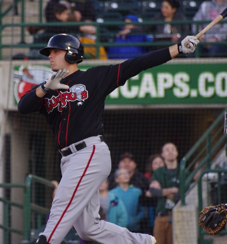 Ryan McBroom pushed his batting average to .351, atopthe class-A Midwest Leaguewith a 3-for-3 day, including adouble and knocking in his 59th RBI. Photo: Jay Blue.