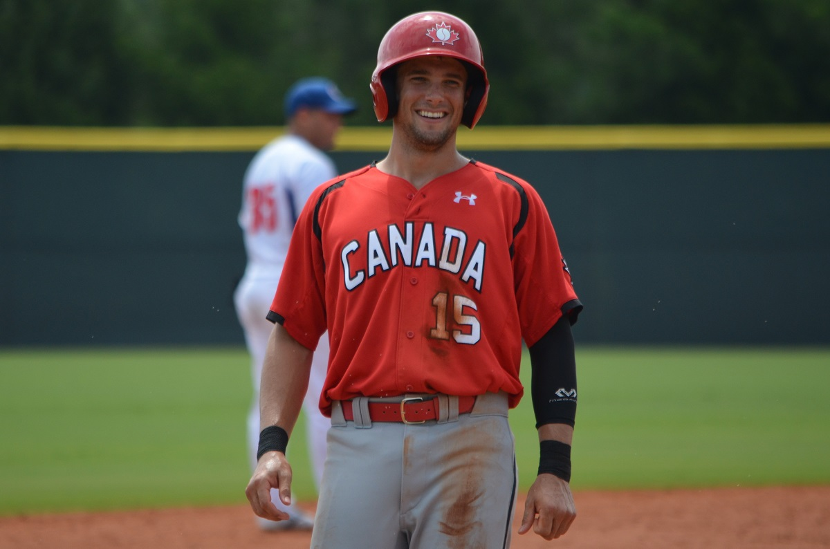 Sean Jamieson who played for the Brantford Braves before he was scouted and signed off the Canisius campus by Oakland A's scout Matt Higginson, is Canada's shortstop. Photo: Alexis Brudnicki.