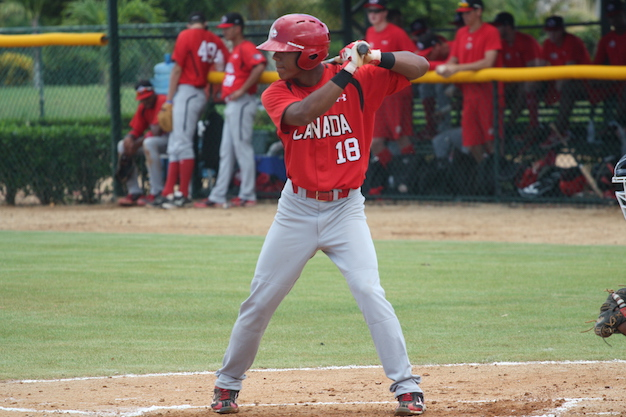 OF Miles Gordon (Oakville, Ont.), a grad of the Great Lakes Canadians, is off to a good start with rookie-class Arizona League Reds. Photo Credit: Baseball Canada