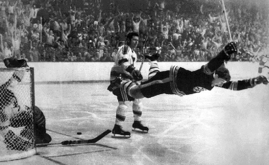 Bobby Orr flies thru the air with the greatest of ease after his Stanley Cup-winning goal ... just like ...