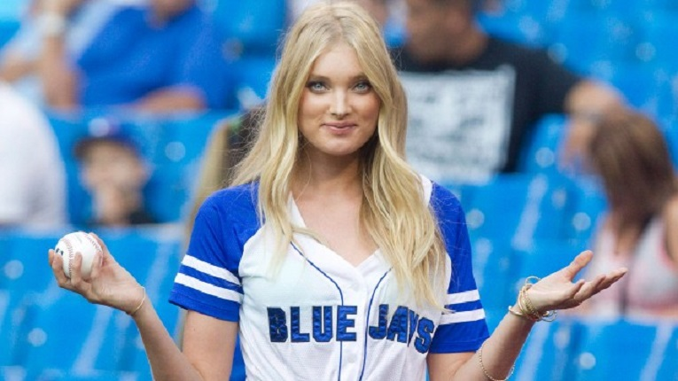 Elsa Hosk, a Victoria's Secret Angel threw a strike to Drew Hutchison for the ceremonial first pitch. It wasn't a strike? Shhhh, it's a secret,