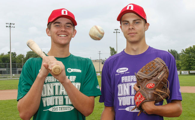 Ethan Hunt (Elginburg), left, and Matt Brash (Kingston) both contributed on the mound in Ontario's 7-4 win over Quebec at the Canada Cup. Photos: Julia McKay/The Whig-Standard, Just Sports Photography.