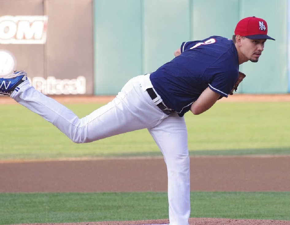Taylor Cole allowed one run in seve innings in the non decision for double-A New Hampshire Fisher Cats. .Photo: Jay Blue.