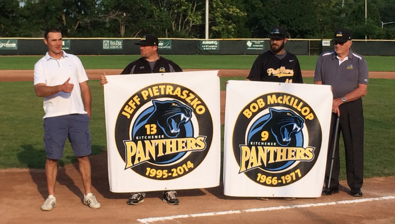 Jeff Pietraszko,left, joins Bob McKillop in the Kitchener Panthers'Hall of Fameat Jack Couch Park. Photo: Dan Polischuk.