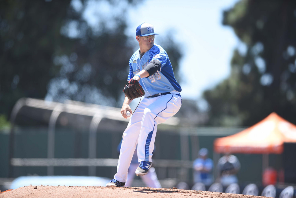 RHP Josh Burgmann  (Nanaimo, BC) of the Vauxhall Academy Jets had two outings for the Kansas City Royals scout team at the Area Code Games in Long Beach, Calif.  Photo: Student Sports.