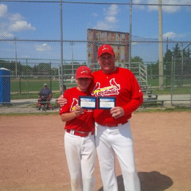 Dylan Fleming, team offensive MVP, and his pop, assistant coach John Fleming of the Cardinals.
