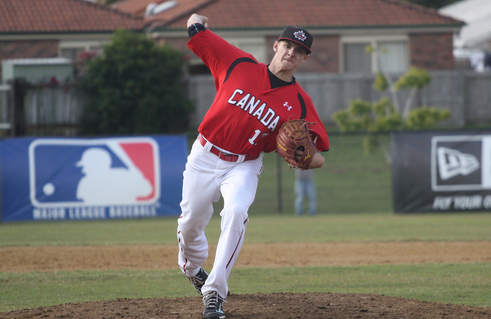 Will McAffer (North Vancouver, BC) pitched two scoreless innings before being tagged for a run in a 3-2 loss to Australia.