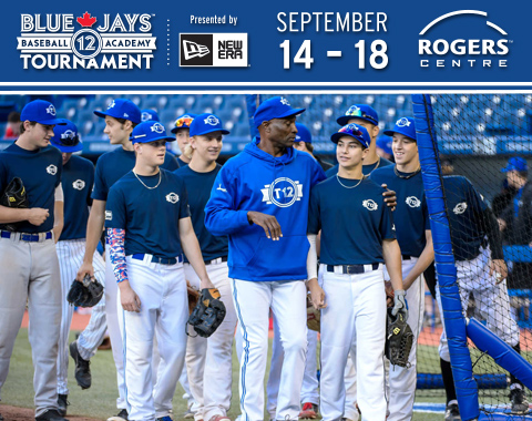 Former Blue Jays CF Lloyd Moseby passes on words of wisdom to players at last year's Tournament 12.