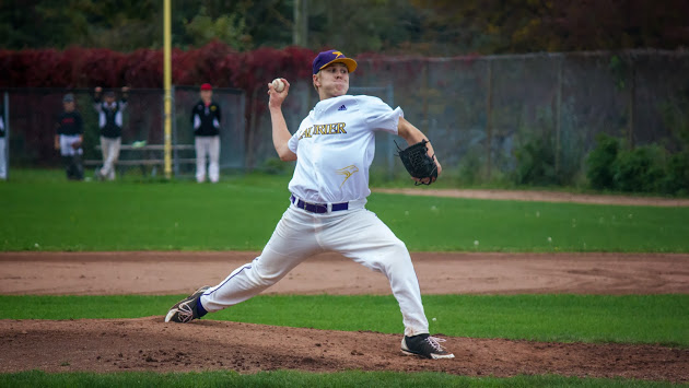 Andrew Ziedins pitched a five-hit shut out for the Laurier Hawks in a 4-0 win over the Laurier Hawks.