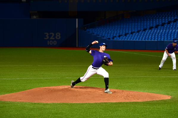 RHP Carson Perkins (Bienfalt, Sask.) of the Vauxhall Academy Jets pitched the win for Prairiies Purple. Photo Credit: Jonathan Soveta