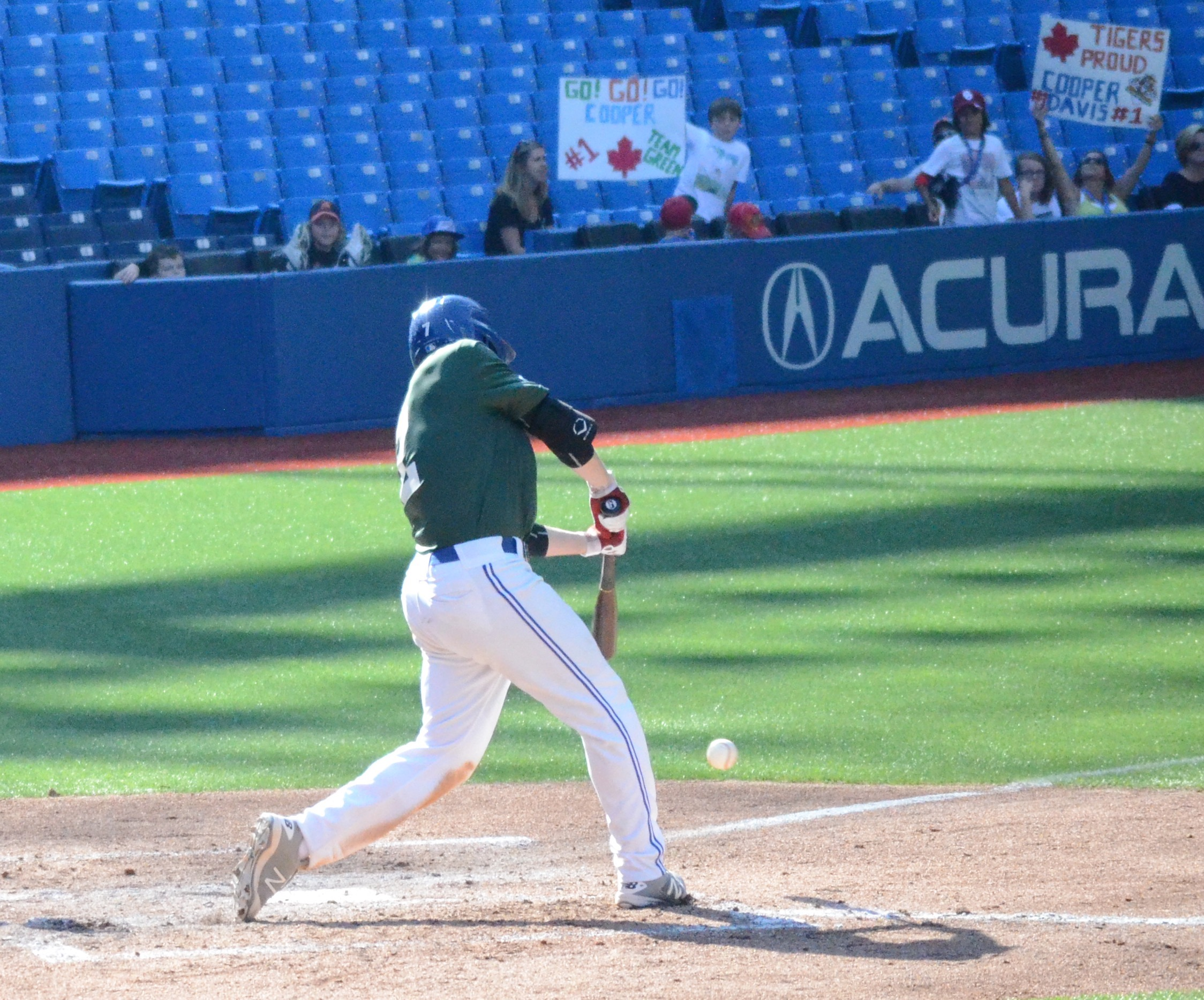 OF Cooper Davis (Mississauga, Ont.) of the Ontario Blue Jays had his own fan club and they came bearing signs.