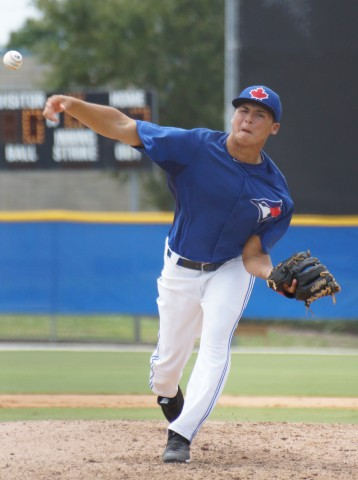 RHP Justin Mease was the rookie-class Gulf Coast Jays pitcher of the year. Photo: Eddie Michels.
