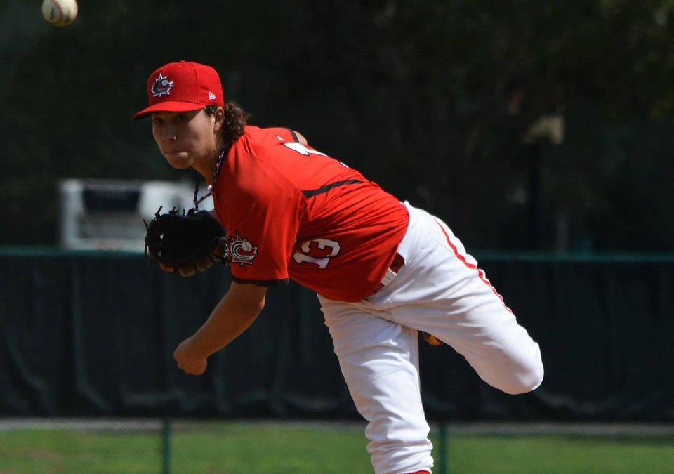 LHP Jaden Griffin (Lower Sackville, NS) who went two scoreless with two strikeouts as the Canucks U18s lost 4-2 to the Atlanta Braves first and second-year pros. Photo: Alexis Brudnicki.