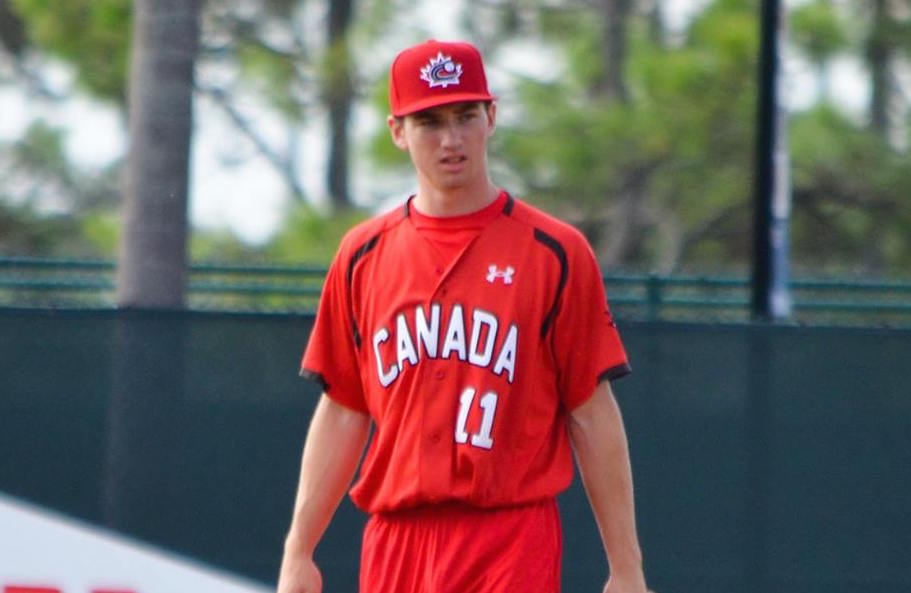 Adam Hall (London, Ont.) singled in the seventh as the Canadian Junior National Team lost 12-2 to first and second year Atlanta Braves prospects. Photo: Alexis Brudnicki.