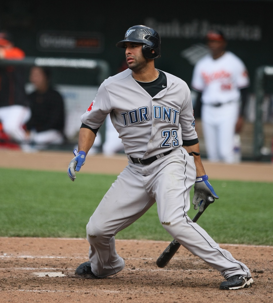 Jose Bautista in 2009, after he took over the right field Blue Jays job from Alex Rios, whom he now opposes in the ALCS.