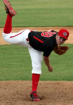 RHP Sam Turcotte (Toronto, Ont.) of the Ontario Terriers pitched seven scoreless for the Body Armour Titans facing Team Evoshield, fanning eight in a 0-0 tie.