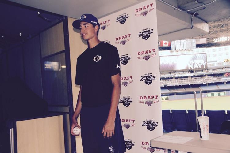 RHP Jordan Balazovic (Mississauga) of the Ontario Blue Jays had his fastball clocked at 91 mph, throwing seven scoreless to earn PG World Wood Bat championship all-tourney honors. Photo: Tyler King.