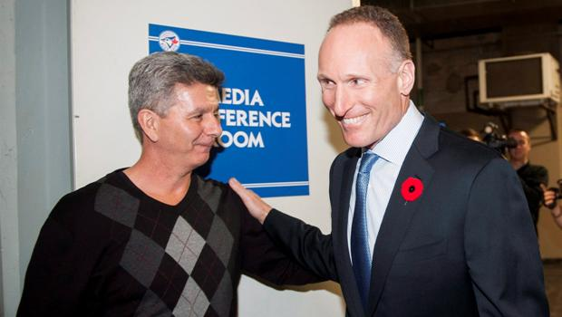 Former Jays interim GM Tony LaCava (left) received praise from new Jays president Mark Shapiro and GM Ross Atkins.
