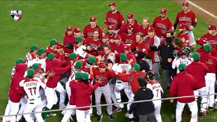 In the third base dugout/corner ... wearing red, white and green ... Mexico ... and in the red, white and black ... Canada. Arnold Leon plunked Rene Tosoni in the ninth in the 2013 WBC and the benches cleared in a scary brawl in Phoenix.