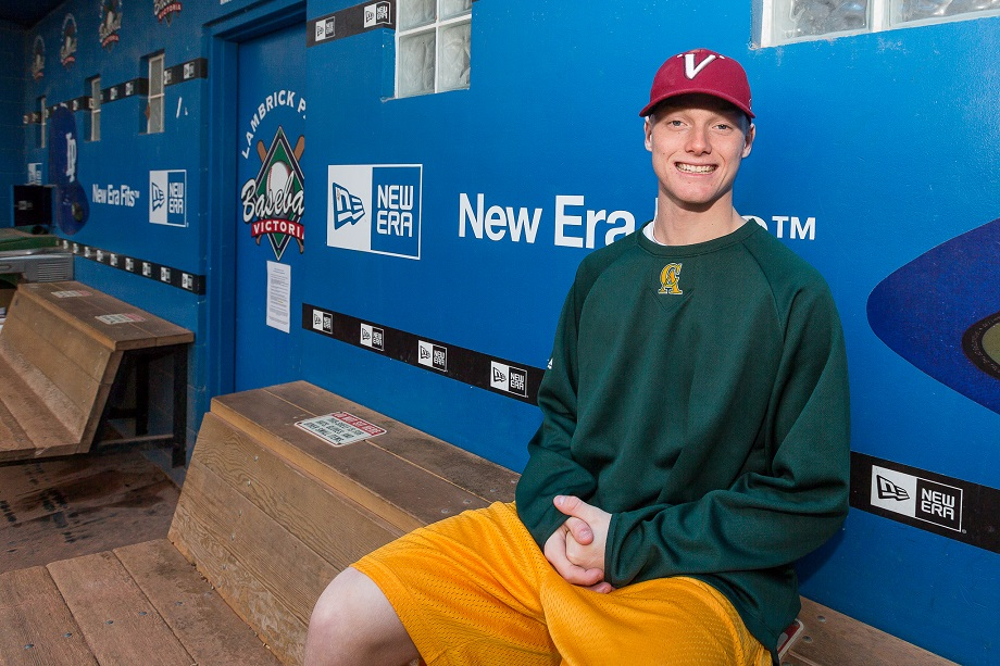 Brendan Turcotte (Victoria, BC) traded in the crimson and black of the Victoria Eagles and the dugouts of Lambrick Park, for the green and gold of the Vaqueros and the warmer climes of Central Arizona College in Coolidge, Az. south of Phoenix Photo: Christian J. Stewart/ISN.