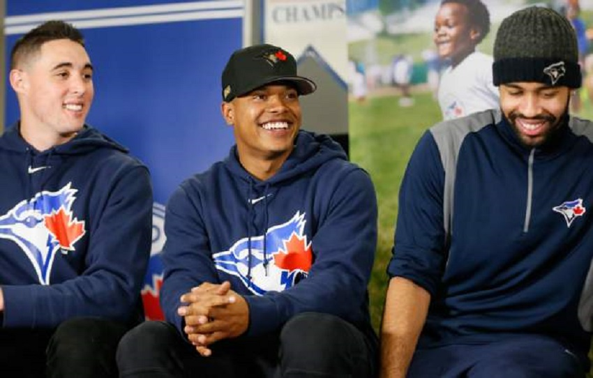 RHP Aaron Sanchez (left) with RHP MArcus Stroman and OF Dalton Pompey (Mississauga, Ont.) has bulked up 25 pounds this off season and hopes to play a meatier role in the Jays pitching this season.
