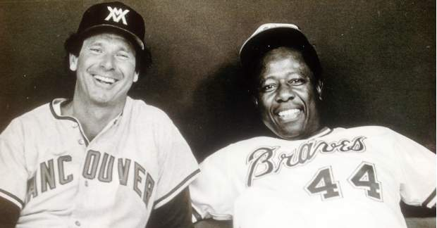 Wayne Norton and Hank Aaron relax during the 1983 Legends Game at BC Place Stadium.