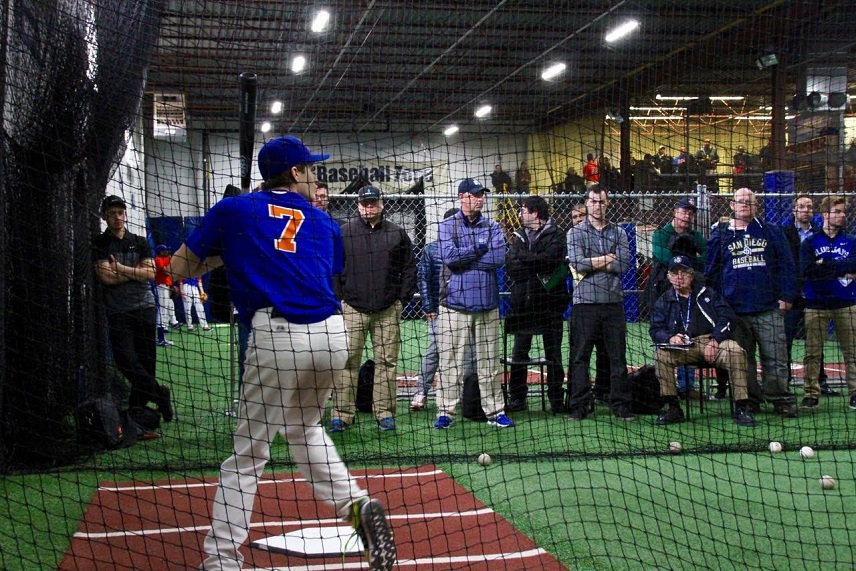 Matt Turino (Scarborough, Ont.) of the Toronto Mets takes his hacks at the Major League Scouting Bureau camp held at The Baseball Zone in Mississauga. Photos: Tyler King.