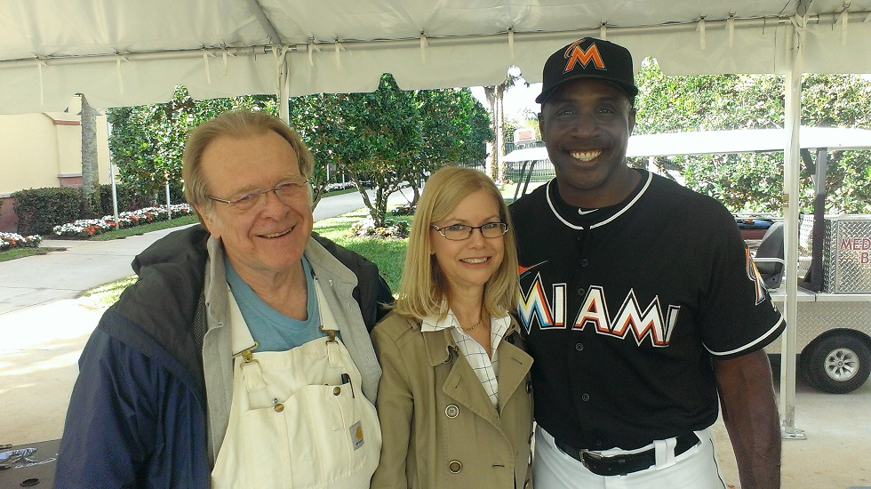 All-time home run leader Barry Bonds says hello to old friend Sambat founder Sam Holman (Ottawa, Ont.) and Arlene Anderson (Ottawa, Ont.) current majority shareholder with her husband JIm. The Sambat executives were making thee rounds and saw the Miamia Marlins hitting coach in Jupiter, Fla.