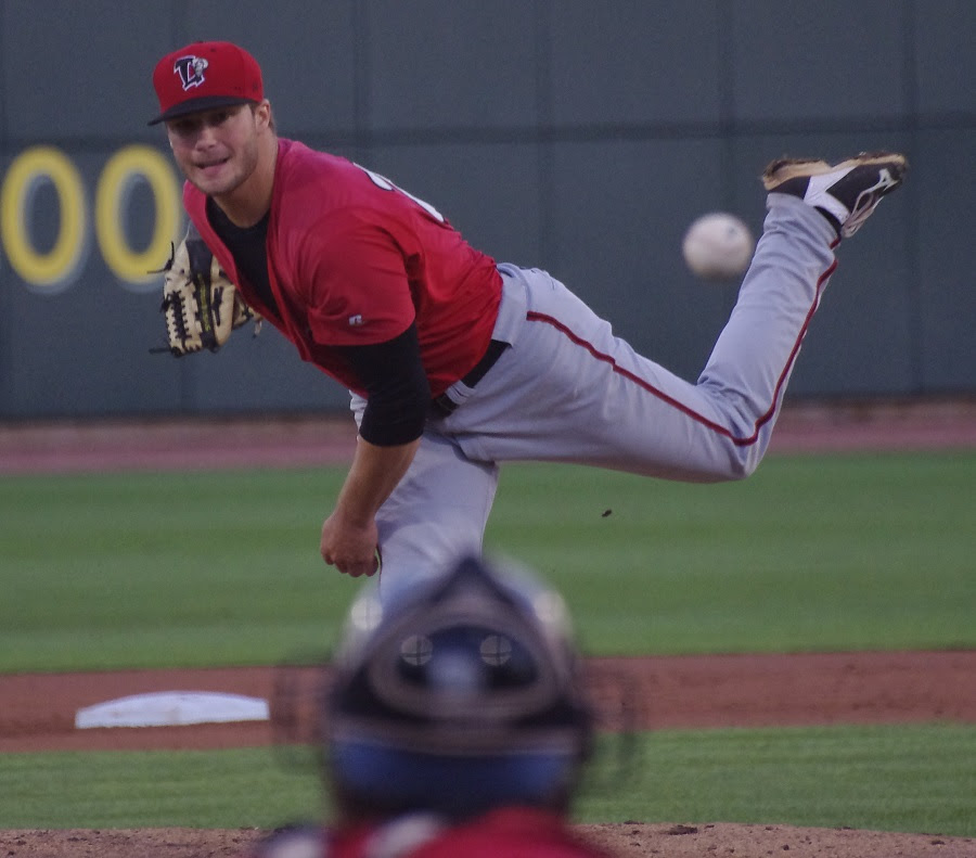 LHP Shane Dawson (Drayton Valley, Alta.)gave up one unearned run in 5 2/3 innings for double-A New Hampshire but wound up with a no decision as the Fisher Cats lost in extras. Photo: Jay Blue.