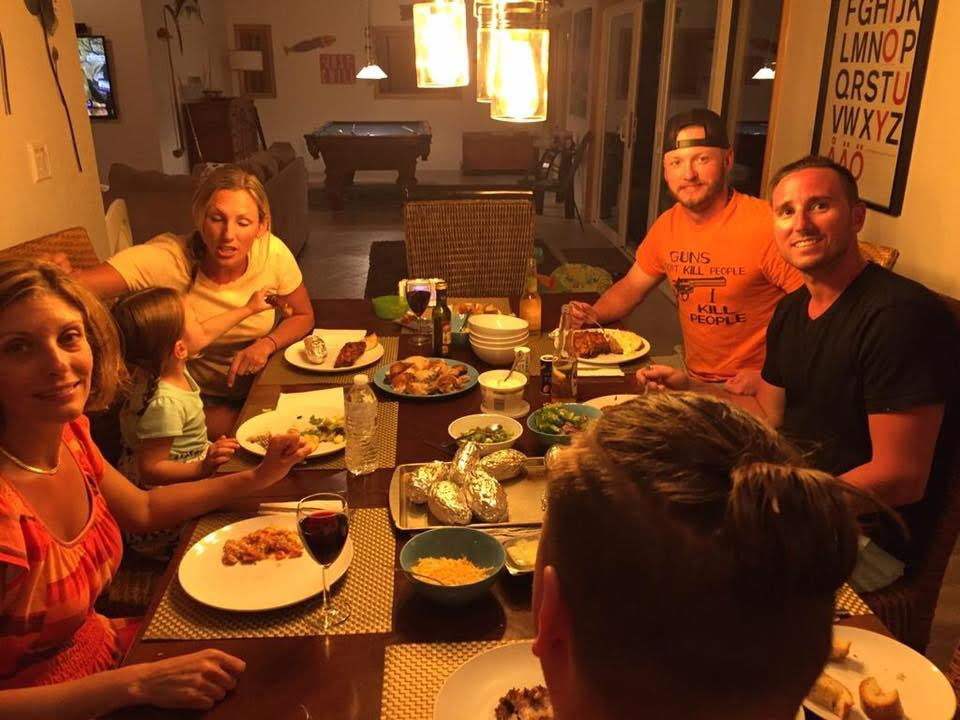 Around the diner table this spring on Tyler Johnstone (right) visits with former teammate Josh Donaldson. On the left side (top to front) are Johnstone's wife Jen, their daughter Chloe and Johnstone's step mom Cecilia. And that's Johnstone's brother Jeremy with his back to the camera with the man bun.