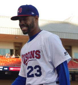 OF Dalton Pompey (Mississauga, Ont.)was 2-for-3 including a double and a walk for triple-A Buffalo. Photo: Jay Blue.
