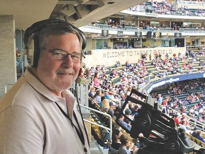 Chris Dahl from high up on his first base perch at Target Field. Photo: Stenhouse and Daughters Studios.