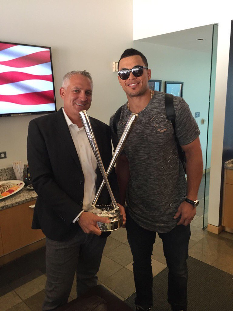 Joel Wolfe with his clietn Giancarlo Stanton of the Miami Marlins.