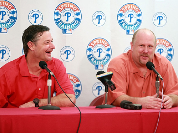 Jamie Moyer, left, with Matt Stairs, part of the Phillies broadcast crew. Stairs will be hitting coach in 2017.
