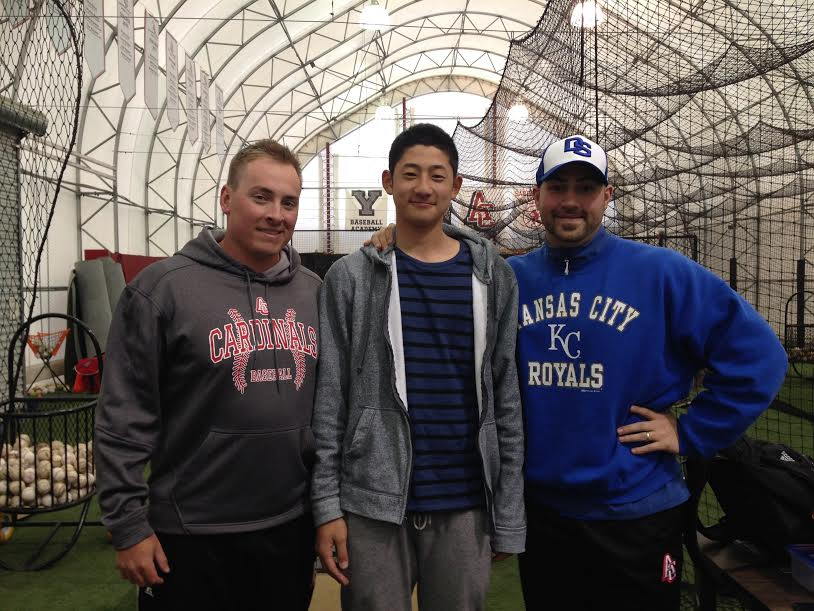The first day LHP Taisei Yahiro (middle) arrived from Osaka Japan he visited former head coach Derek Florko and current coach Corey Eckstein at the Abbotsford Cardinals indoor facility. Eckstein is a scout for the Kansas City Royals.